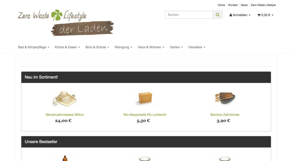 Zero Waste Laden Homepage